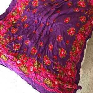 Accessories - Gorgeous Scarf - Purple with Pink Rose design